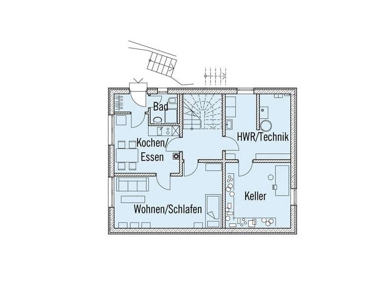 Grundriss Untergeschoss Landhaus Motz-Russ von Baufritz