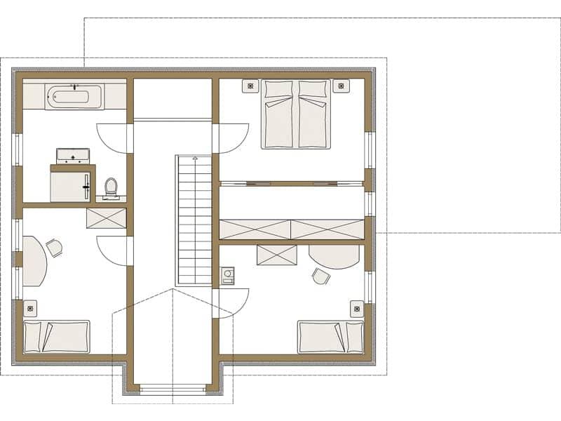 Grundriss Obergeschoss Entwurf LIFE von Fertighaus Weiss