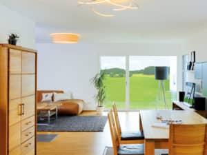 Entwurf Grauer Fertighaus Weiss Wohnbereich