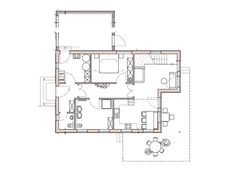 Grundriss Erdgeschoss Blockhaus Allgäu Chiemgauer