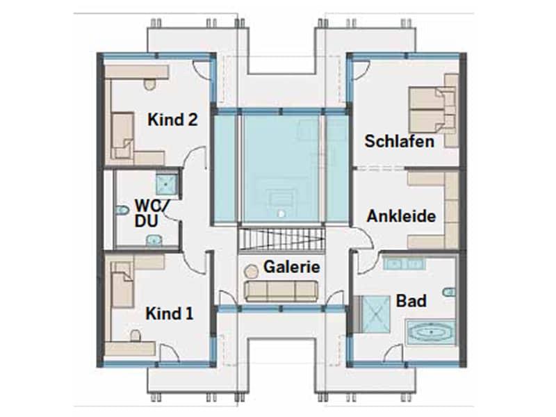 Grundriss Obergeschoss Art 6 Wien von Huf Haus