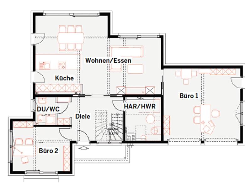 Grundriss Erdgeschoss Musterhaus Schkeuditz von Okal