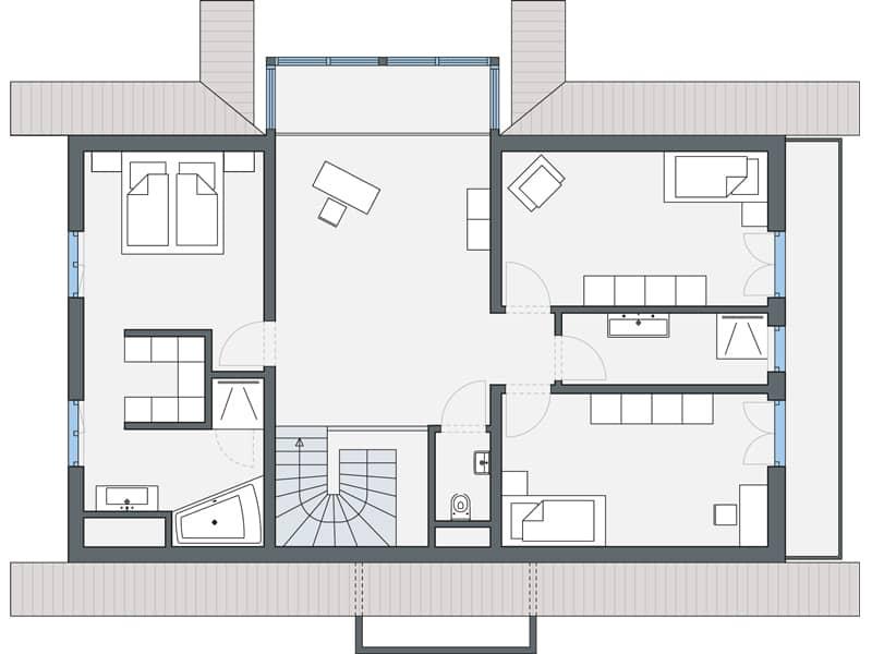 Grundriss Dachgeschoss Entwurf Leclerc von Weberhaus