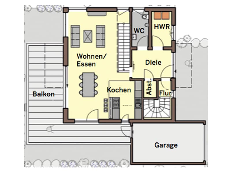 Grundriss Erdgeschoss individueller Entwurf von Büdenbender Hausbau