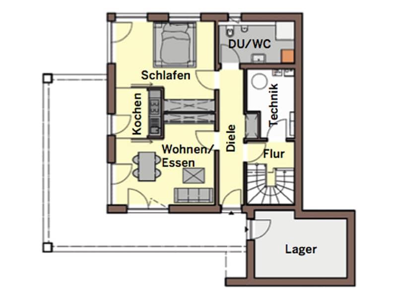 Grundriss Untergeschoss individueller Entwurf von Büdenbender Hausbau