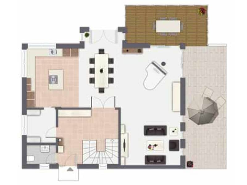 Grundriss Erdgeschoss Entwurf Babelsberg von Gussek Haus