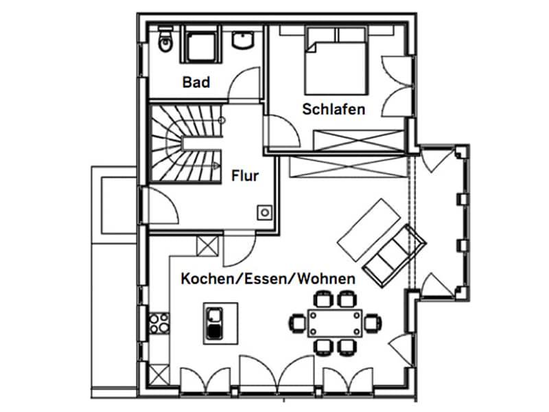 Grundriss Erdgeschoss Entwurf Falkenberg von Sonnleitner