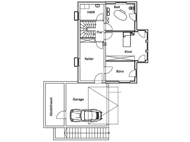 Grundriss Untergeschoss Entwurf Falkenberg von Sonnleitner