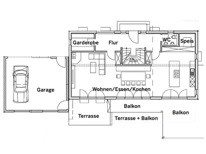 Grundriss Erdgeschoss Entwurf Schlemer von Sonnleitner