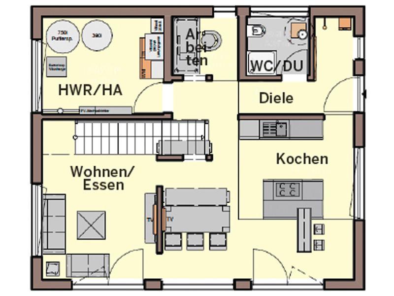 Grundriss Erdgeschoss Entwurf Jedermann von Büdenbender Hausbau