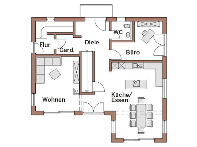 Grundriss Erdgeschoss Entwurf Werner von Wolf System