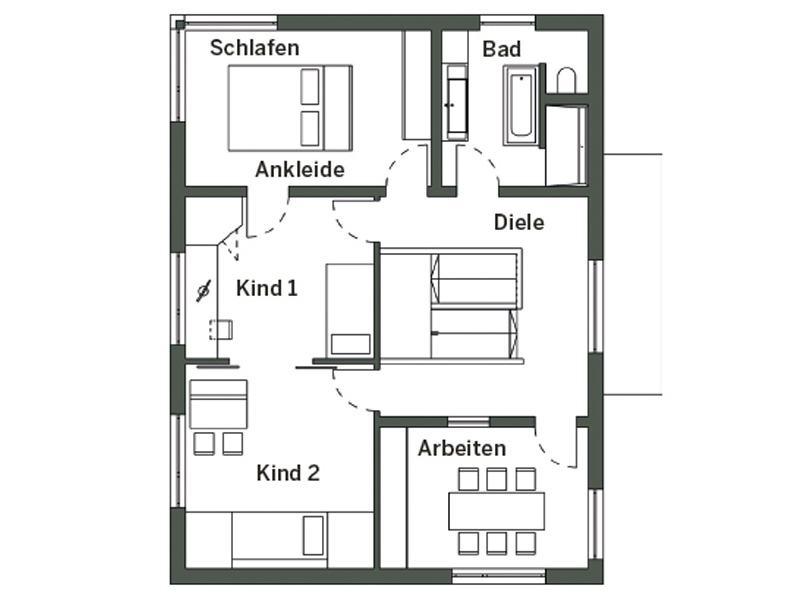 Grundriss Obergeschoss MH Auggen von Schwörer Haus