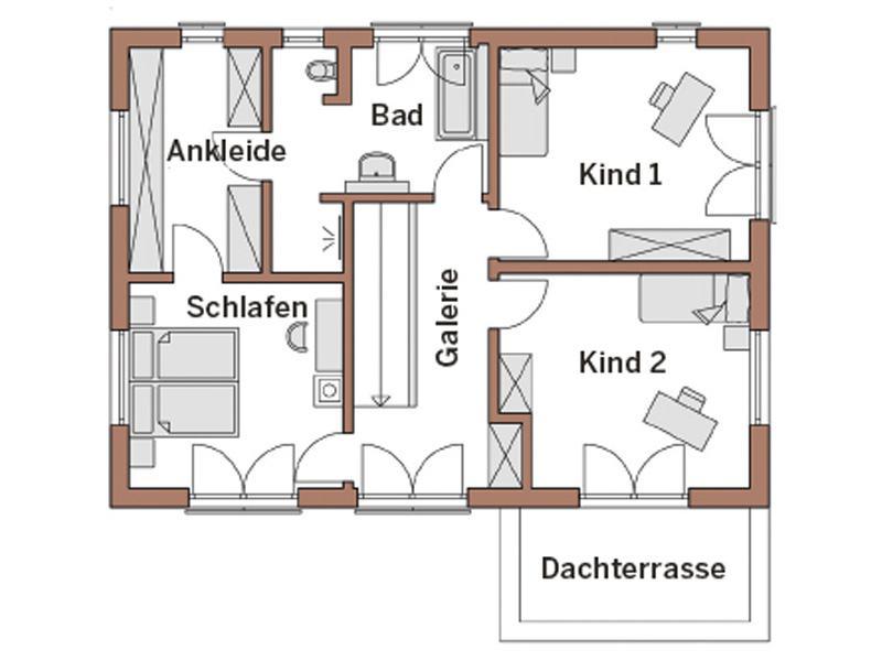 Grundriss Obergeschoss Entwurf Werner von Wolf System