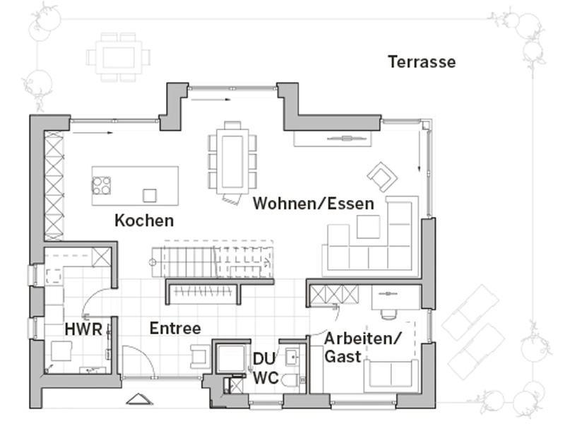 Grundriss Erdgeschoss Edition 480 von Viebrockhaus