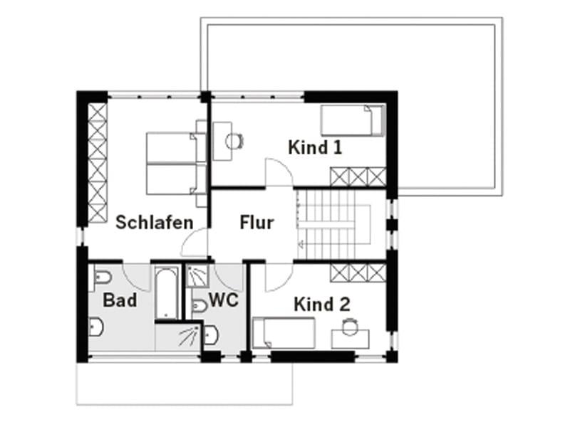Grundriss Obergeschoss Entwurf 110S von Arge-Haus