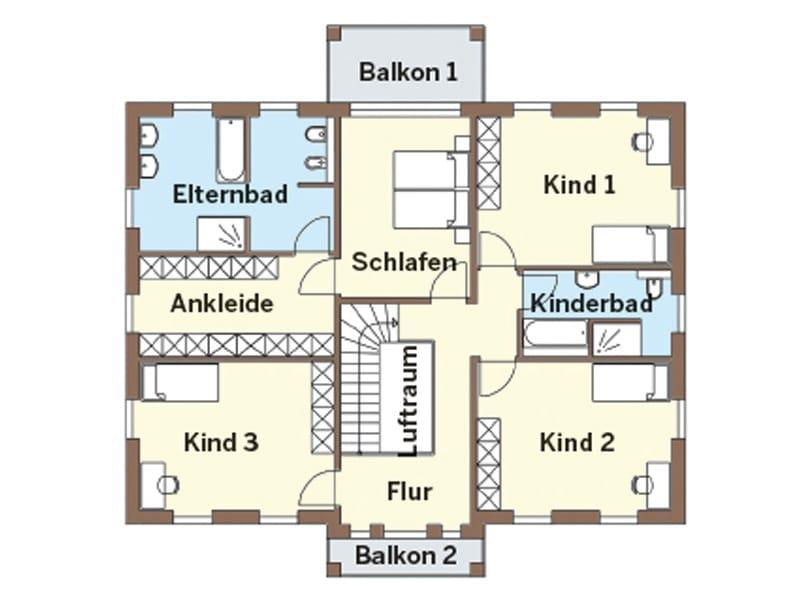 Grundriss Obergeschoss Entwurf 130V von Arge-Haus