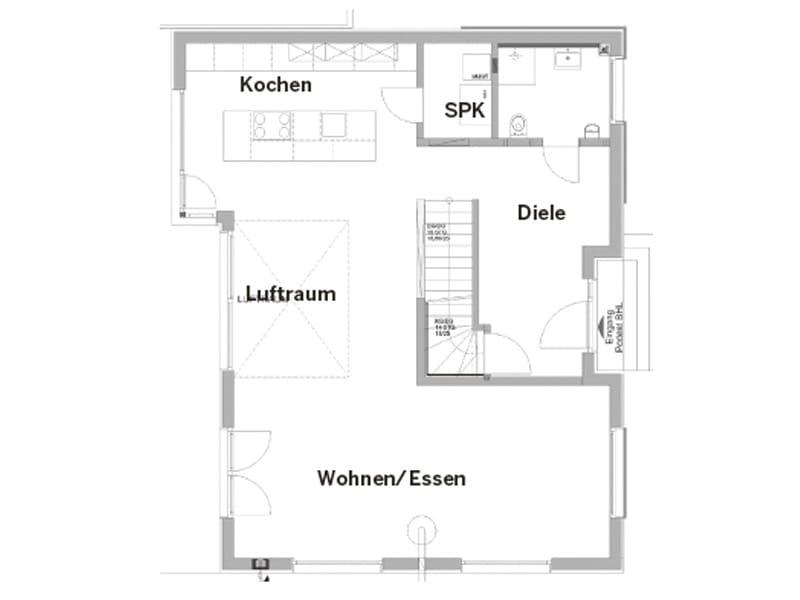 Grundriss Erdgeschoss Entwurf Scheidl von Bittermann und Weiss