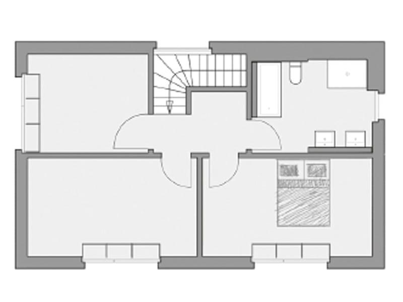 Grundriss Obergeschoss Entwurf Ideenhaus von Baufritz