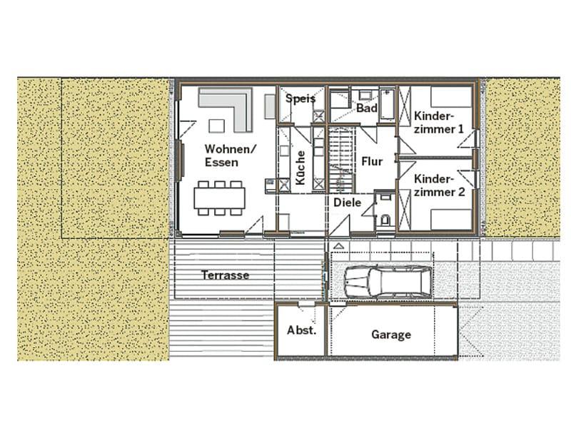 Grundriss Erdgeschoss Entwurf Stuttgart von Chiemgauer