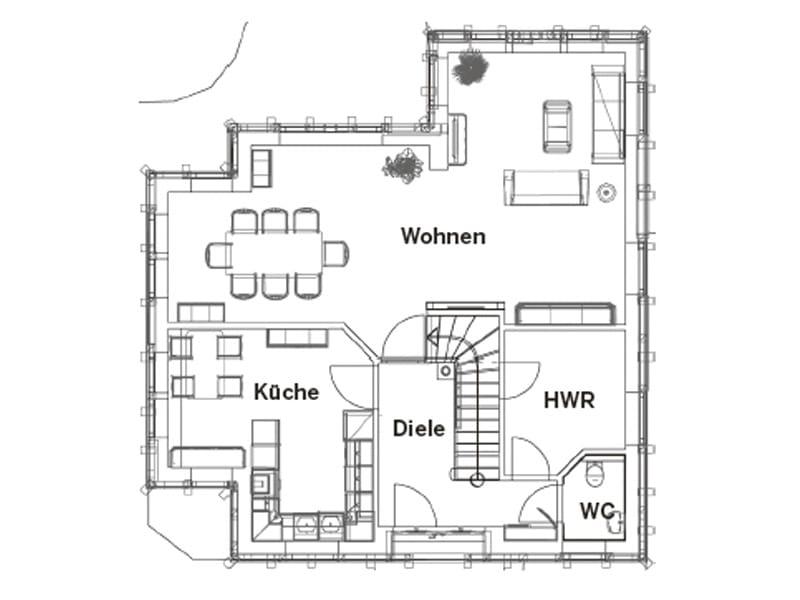 Grundriss Erdgeschoss Entwurf Kerstin vom Planungsbüro Christianus
