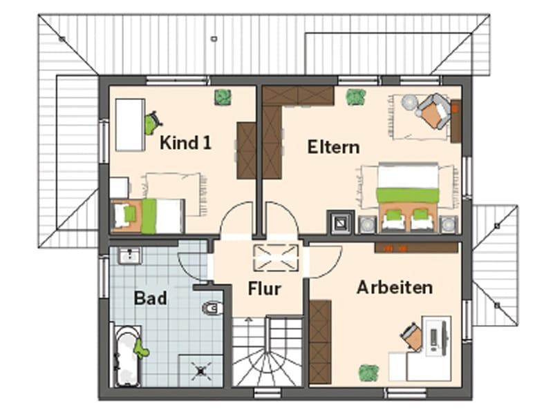 Grundriss Obergeschoss Entwurf Medley 310 B von FingerHaus