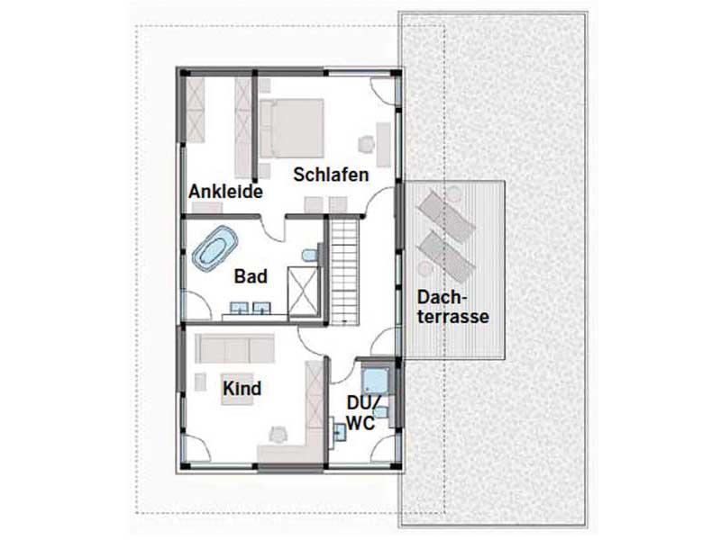 Grundriss Obergeschoss Modum Mannheim von HUF HAUS