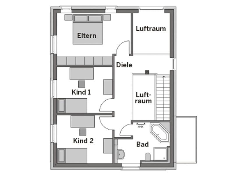 Grundriss Dachgeschoss Entwurf Elbmosaik von Heinz von Heiden