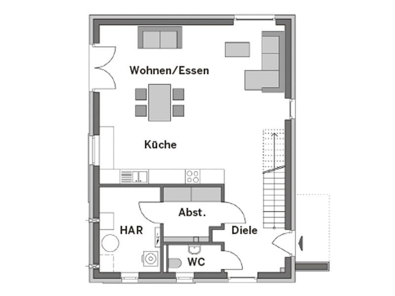 Grundriss Erdgeschoss Entwurf Elbmosaik von Heinz von Heiden