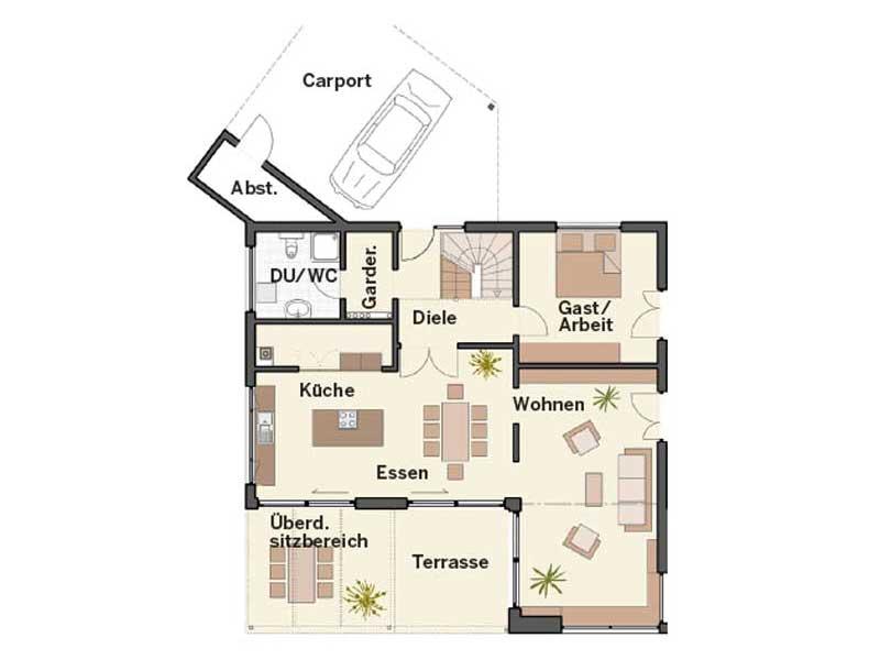 Grundriss Erdgeschoss Musterhaus Brettheim von Keitel-Haus