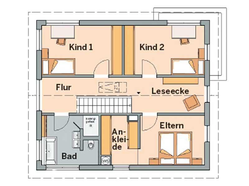 Grundriss Dachgeschoss Architektenhaus Allea von Kern-Haus