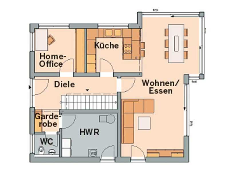 Grundriss Erdgeschoss Architektenhaus Allea von Kern-Haus