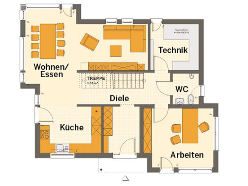 Grundriss Erdgeschoss Entwurf Sunshine 144 Poing von Living Haus