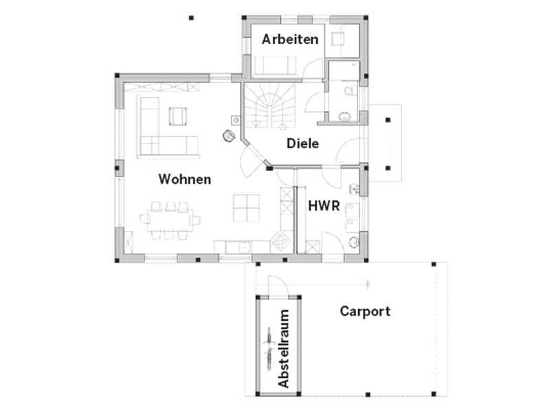 Grundriss Erdgeschoss Entwurf Revival von Vöma-Bio-Bau