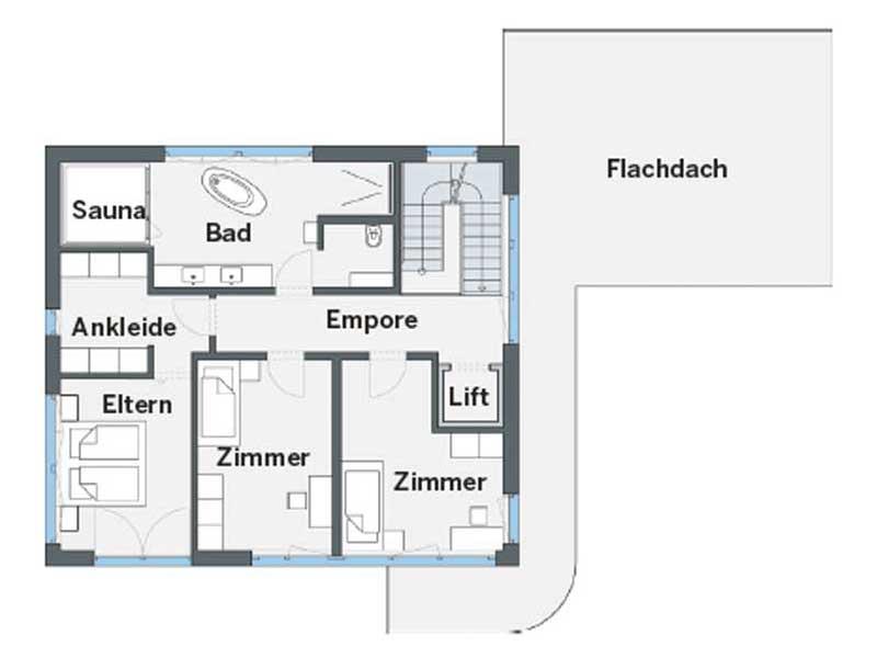 Grundriss Obergeschoss CityLife 450 von WeberHaus