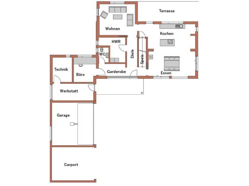 Grundriss Erdgeschoss Entwurf Familie Neumann von Wolf System