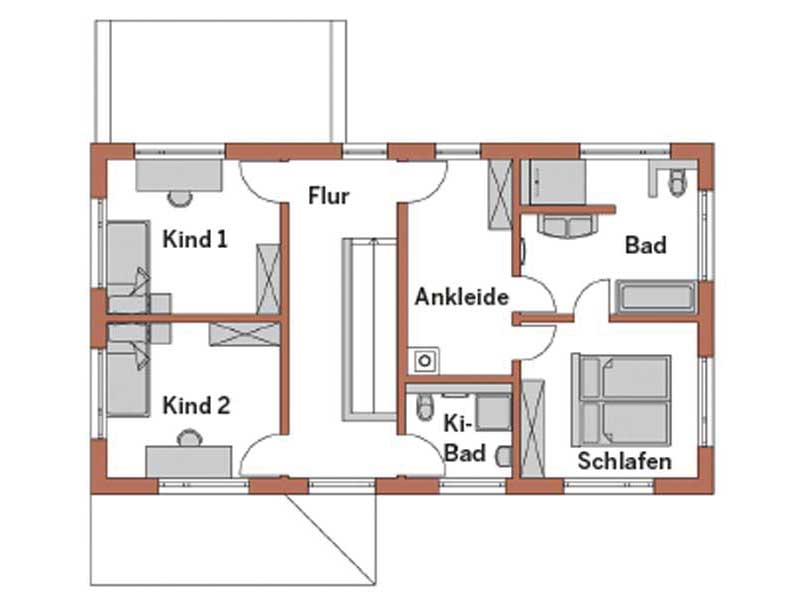 Grundriss Obergeschoss Entwurf Familie Neumann von Wolf System