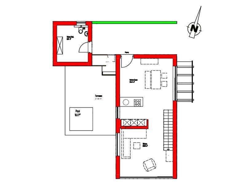 Grundriss Erdgeschoss Entwurf Dornhan Bettenhausen von Kitzlingerhaus
