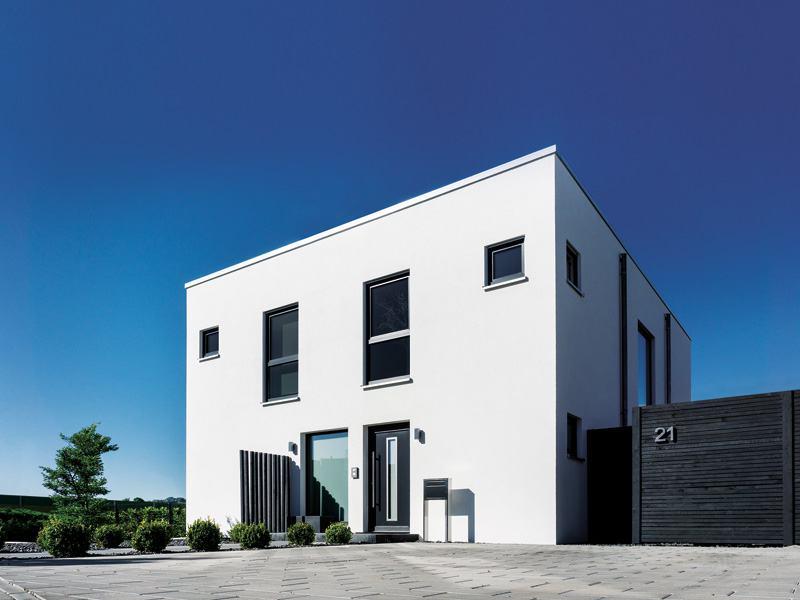 frei geplantes Kundenhaus NEO von FingerHaus Eingangsseite