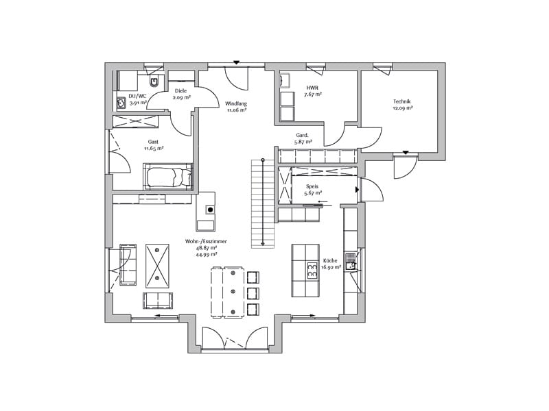 Grundriss Erdgeschoss Stadtvilla247 Fischerhaus