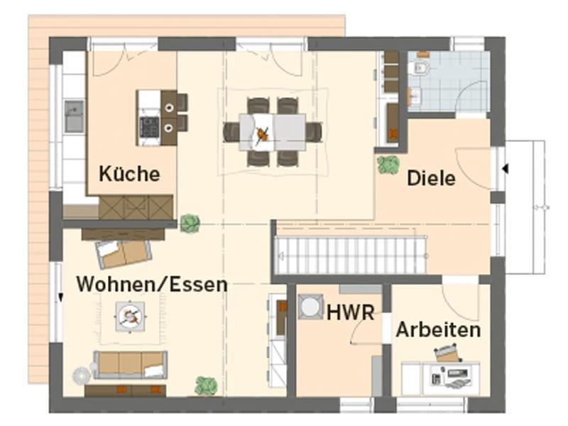 Grundriss Erdgeschoss frei geplantes Kundenhaus NEO von FingerHaus