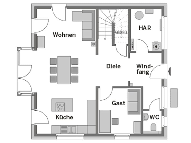 Grundriss Erdgeschoss Stadtvilla Arcus 150 von Heinz von Heiden