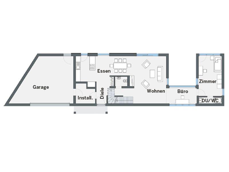 Grundriss Erdgeschoss individuelles Kundenhaus Cartier von WeberHaus
