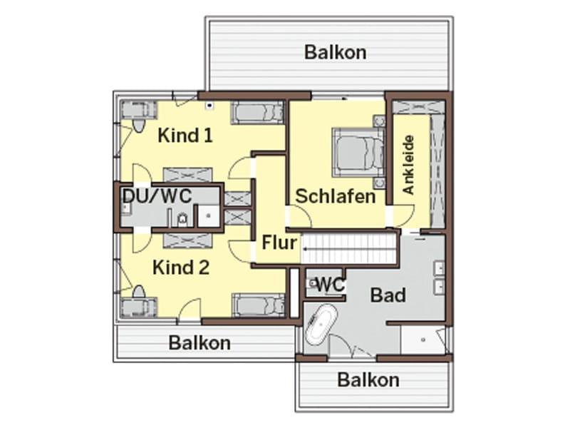 Grundriss Obergeschoss Haus Lehmann von Büdenbender Hausbau