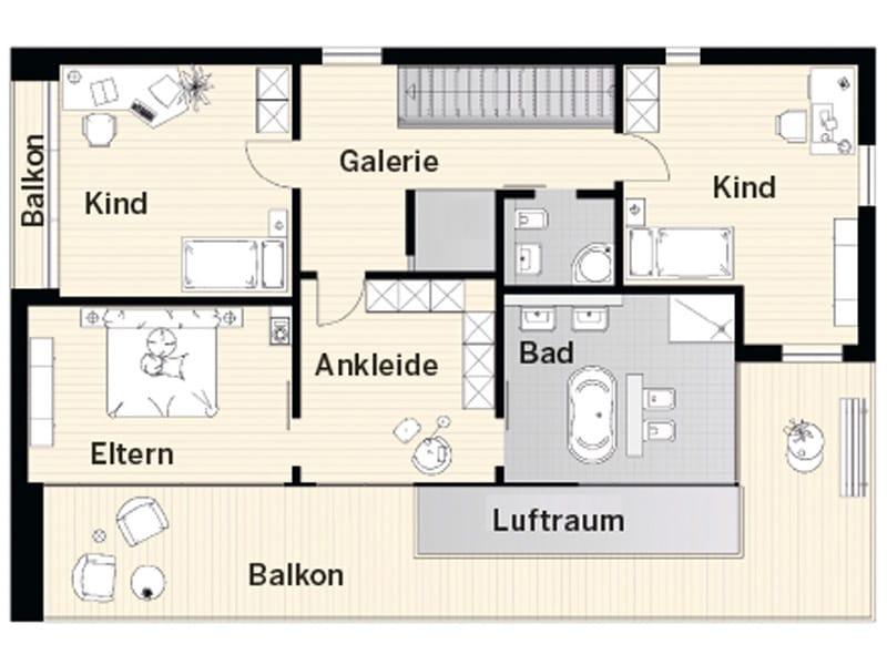 Grundriss Obergeschoss FM 104-158 B von Okal Haus