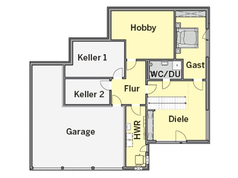 Grundriss Untergeschoss Haus Lehmann von Büdenbender Hausbau