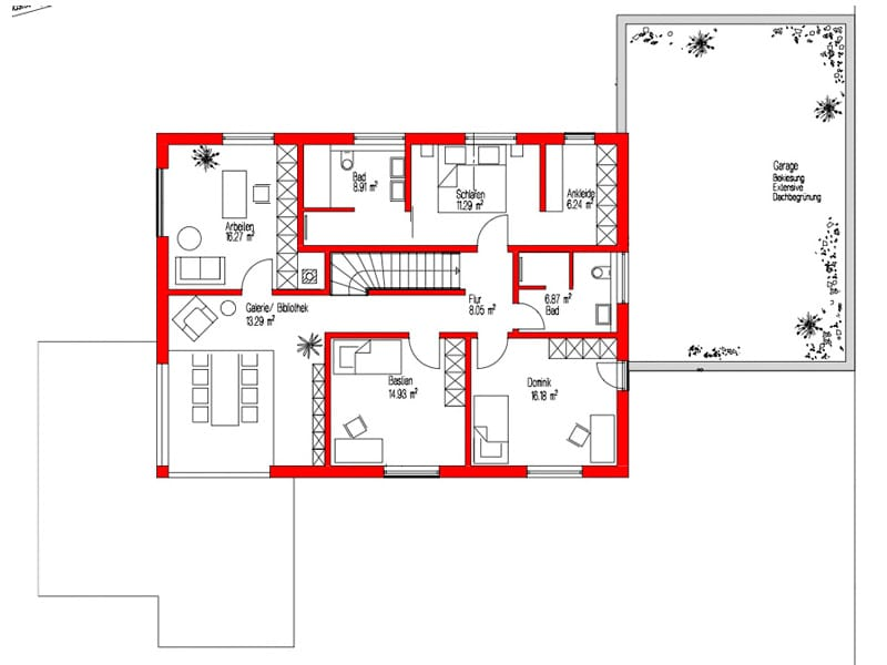Grundriss Obergeschoss Kundenhaus Empfingen von Kitzlingerhaus