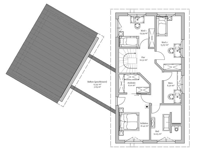 Grundriss Obergeschoss Entwurf Modern 240 von Fischerhaus
