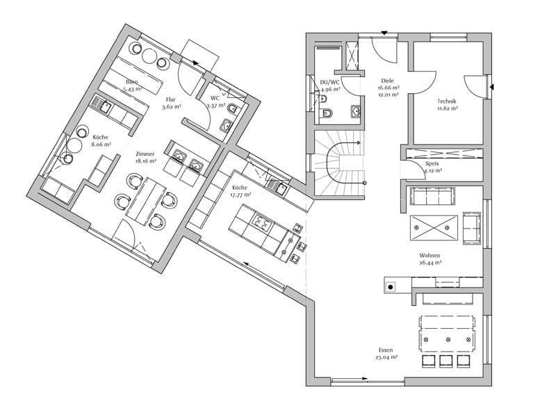 Grundriss Erdgeschoss Entwurf Modern 240 von Fischerhaus