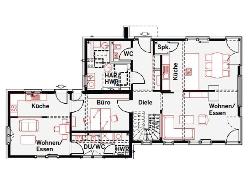 Grundriss Erdgeschoss Musterhaus Estenfeld von OKAL