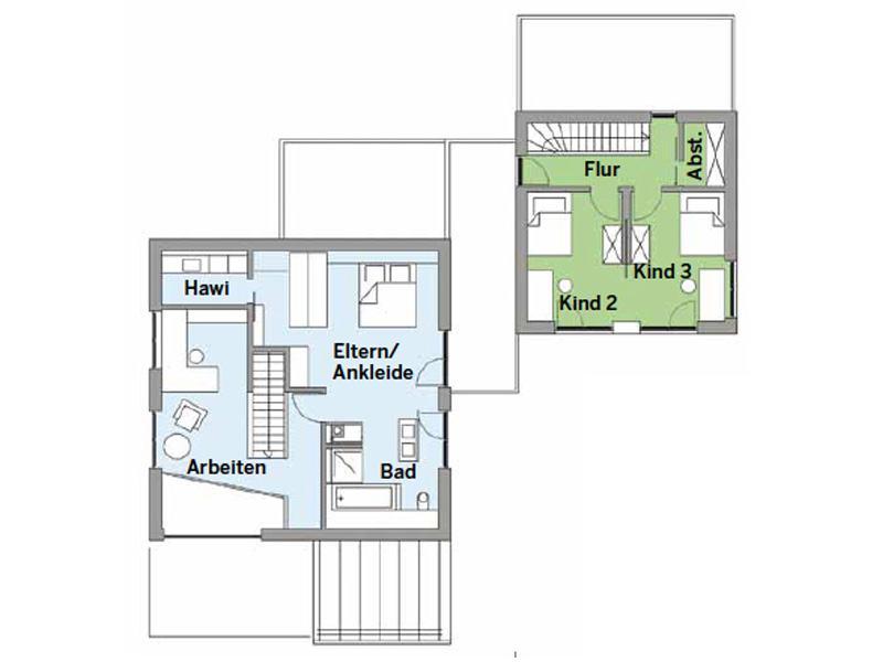 Grundriss Obergeschoss Haus Pilhofer von Baufritz